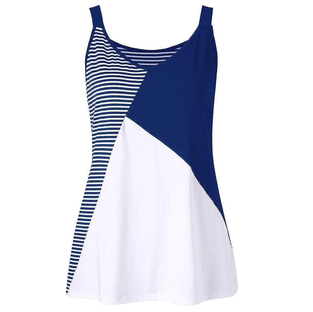 KaloryWee Women's Plus Size Stripe Patchwork Sleeveless Tank Top O-Neck Vest T-Shirt Blouse