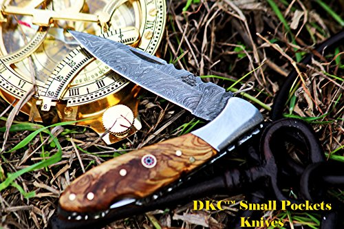 DKC-58-LJ-OW-LITTLE-JAY-Damascus-Folding-Pocket-Knife-Olive-Wood-Handle-4-Folded-7-Long-47oz-oz-High-Class-Looks-Feels-Great-In-Your-Hand-And-Pocket-Hand-Made-DKC-Knives-LJ-Series