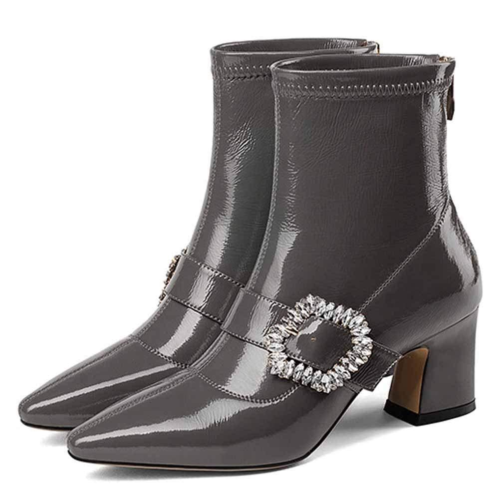 GUOHONG-CX Schuhe Damen Stiefel Stiefel Stiefel Martin Leder Spitze High-Heel Kurze Herbst Winter Warm Rutschfeste Atmungsaktive Mode,grau-35 4a6431