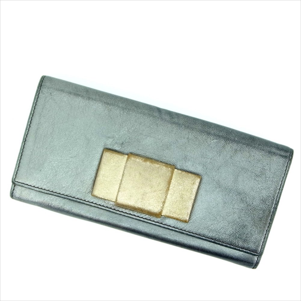 (ミュウミュウ) Miu Miu 長財布 シルバー×ゴールド リボンモチーフ レディース 中古 L159   B018JMTBK0