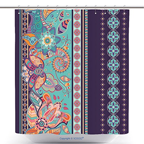 Seamless Ethnic Floral Paisley Stripe Pattern Ethnic Floral Borders Pattern Vector Bathroom Shower Curtain - Waterproof And Mildewproof Havy-Duty Polyester Fabric Bathroom Curtain Ideas (72