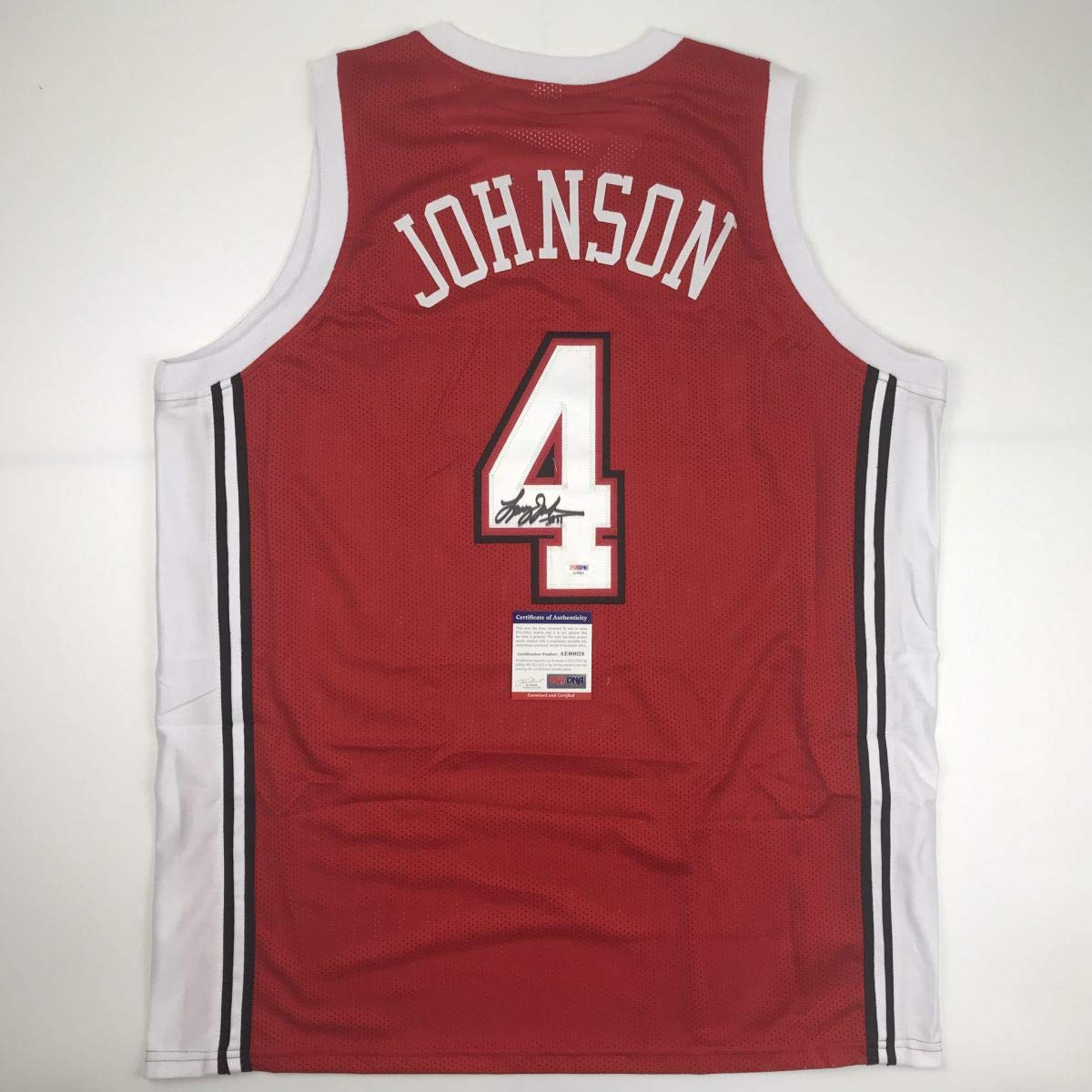 cheap for discount 7d069 f7973 Autographed/Signed Larry Johnson UNLV Red College Basketball ...