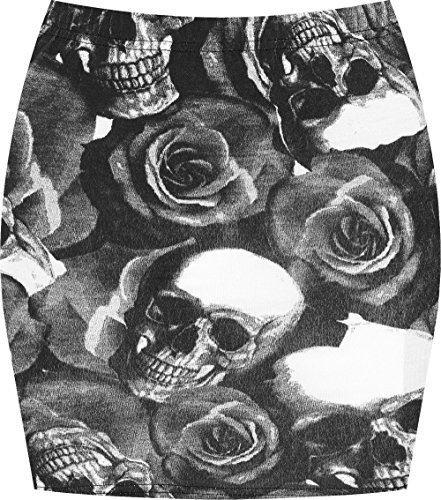 - WearAll Women's Print Mini Skirt - Skull Roses - 4-6