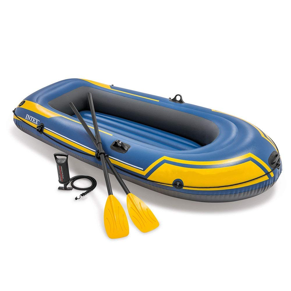 Durability Inflatable Kayaks Durable Inflatable Boat Challenger Two-Person Boat Drifting Boat Dinghy Inflatable Thickening Outdoor Assault Boat (Color : Blue, Size : 236x114x41cm) by BoeWan