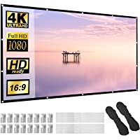 Projector Screen 120 inch 16:9 HD Foldable Anti-Crease Portable Projection Movies Screen for Home Theater Outdoor Indoor…