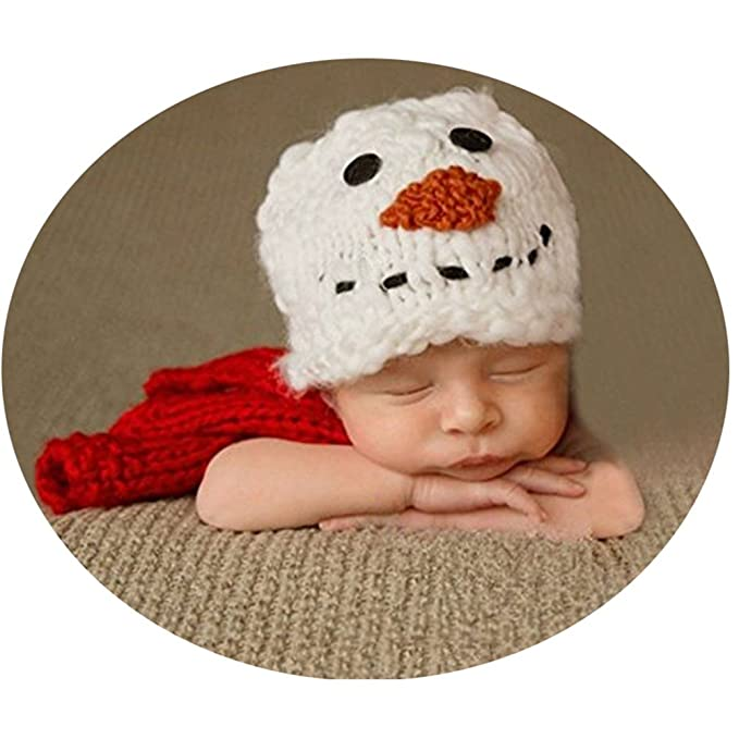 014216f8f Newborn Photography Props Unisex Baby Photo Outfits Crochet Knitted Infant  Snowman Hats Scarf White