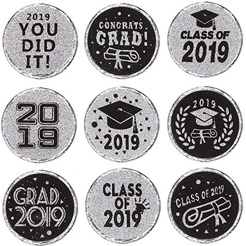 Class of 2019 Graduation Party Favor Labels-Silver Shiny Stickers-324 Stickers