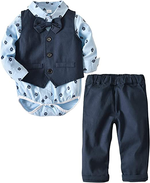 Toddler Kids Baby Boys Gentleman Clothes Set Bow Shirt+Shorts Wedding Party Suit