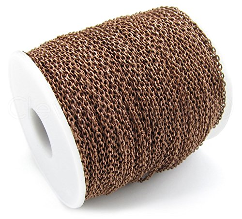 CleverDelights Cable Chain Spool - 330 Feet - Antique Copper Color - 2x3mm Link - Rolo Chain Bulk Roll from CleverDelights