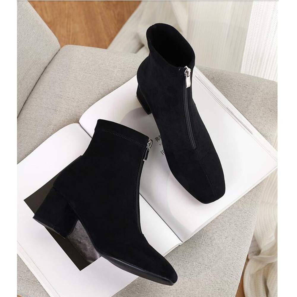 Stiefel Xiaolin Winter grobe Ferse Martin Reißverschluss Kurze Ankle Stiefel Stiefel Stiefel Mode Damen (Farbe   SCHWARZ, größe   US5.5 EU36 UK3.5 CN35) a6af35