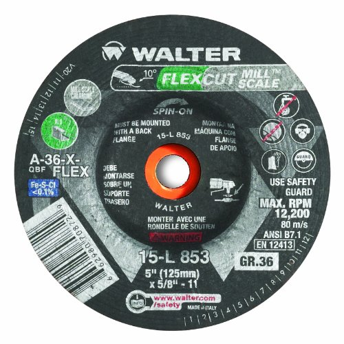 Walter Flexcut Mill Scale Premium Performance Flexible Grinding Wheel, Threaded Hole, Aluminum Oxide, 4-1/2