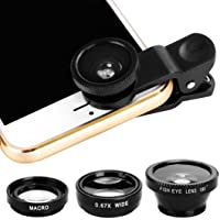Longay 3 in1 Universal Clip+Fish Eye+Wide Angle+Macro Lens for iPhone for Samsung & Smart Phone Tablet (Black)