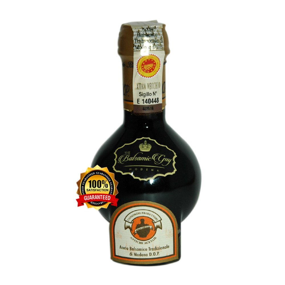 Aceto Balsamico Tradizionale di Modena DOP Extra Vecchio from The Consortium of Traditional Balsamic Vinegar Producers in Modena. Certified Aged 25 years. Great Gift for the Holidays. On Sale now.