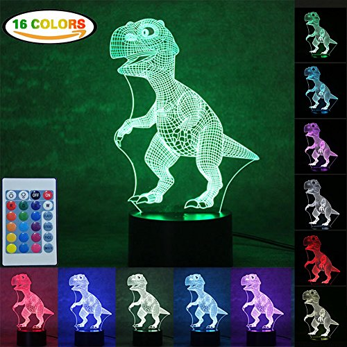 Night Light 3D Illusion Led Lamp  Dinosaur Light For Kids Children With Switch   Remote Control  Rfwin 16 Colors 3D Optical Illusion Lights Usb Cable Or Batteries Table Desk Toy Light For Toddlers