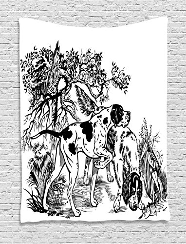 Hunting Decor Tapestry by Ambesonne, Hunting Dogs in Forest Monochrome Drawing English Pointer and Setter Breeds, Wall Hanging for Bedroom Living Room Dorm, 40 W X 60 L Inches, Black White (English Setter Tapestry)