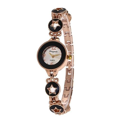 YAZILIND de cuarzo reloj de pulsera ronda reloj marca de pentagrama correa bastante reloj para las