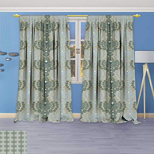 (Philiphome Blackout Room Darkening Curtains Art Damask Decor Floral Ornament Background Wallpaper Pattern Print Blue and Taupe Window Panel Drapes Grommet Top)