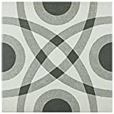 SomerTile FRC8TWCR Fifties Ceramic Floor and Wall Tile, 7.75'' x 7.75'', White/Grey