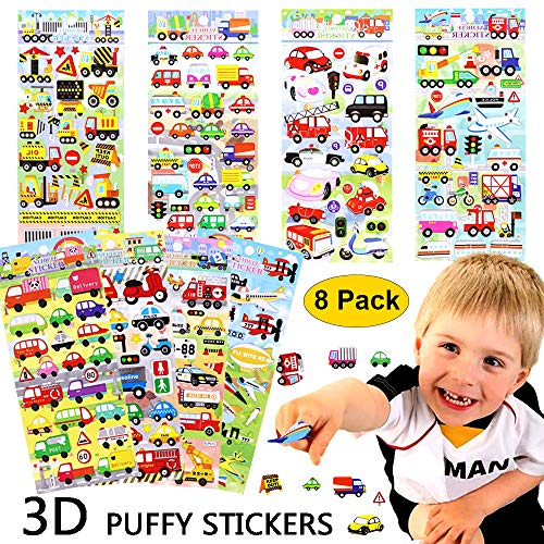 sunny seat Stickers for Kids 3D Puffy Stickers 8 Different Sheets Car Vehicle Taxi Bus Airplane Train Foam Stickers for Scrapbook Toddlers Birthday Party Favors Reward Gift