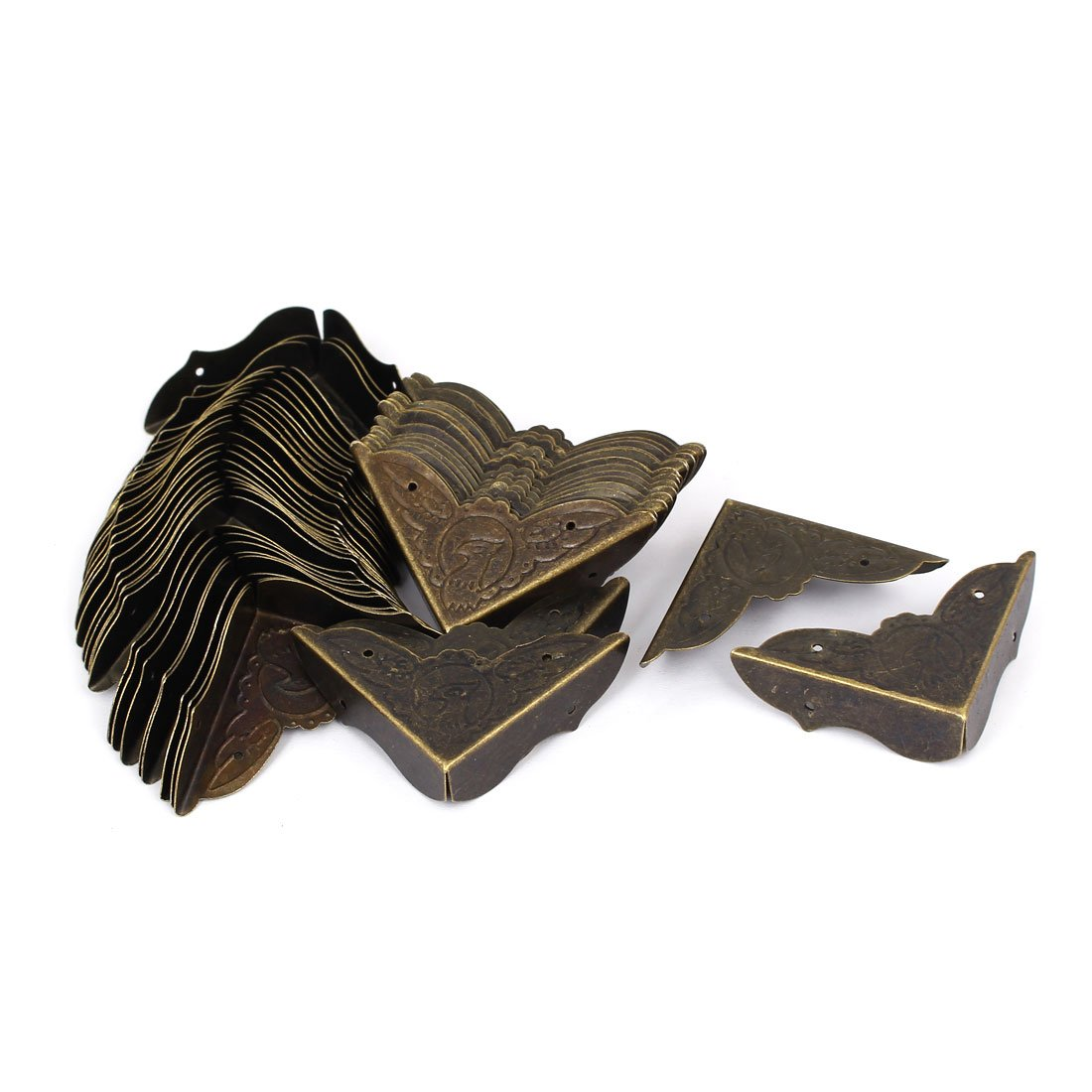 uxcell Jewelry Gift Box Corner Cover Protector Guard Bronze Tone 45mmx45mmx13mm 50pcs by uxcell