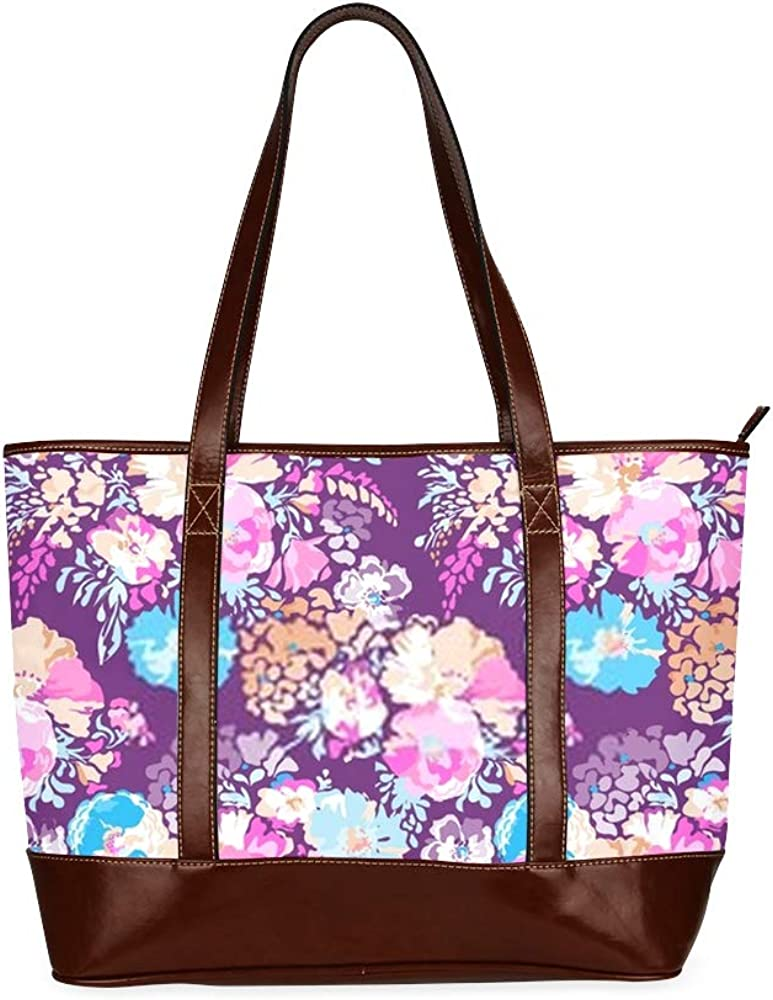 Tote Bags Sweet Classic Floral Print Seamless Background Travel Totes Bag Fashion Handbags Shopping Zippered Tote For Women Waterproof Handbag