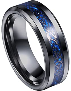 tanyoyo 8mm blue black dragon pattern beveled edges celtic rings jewelry wedding band for men 7
