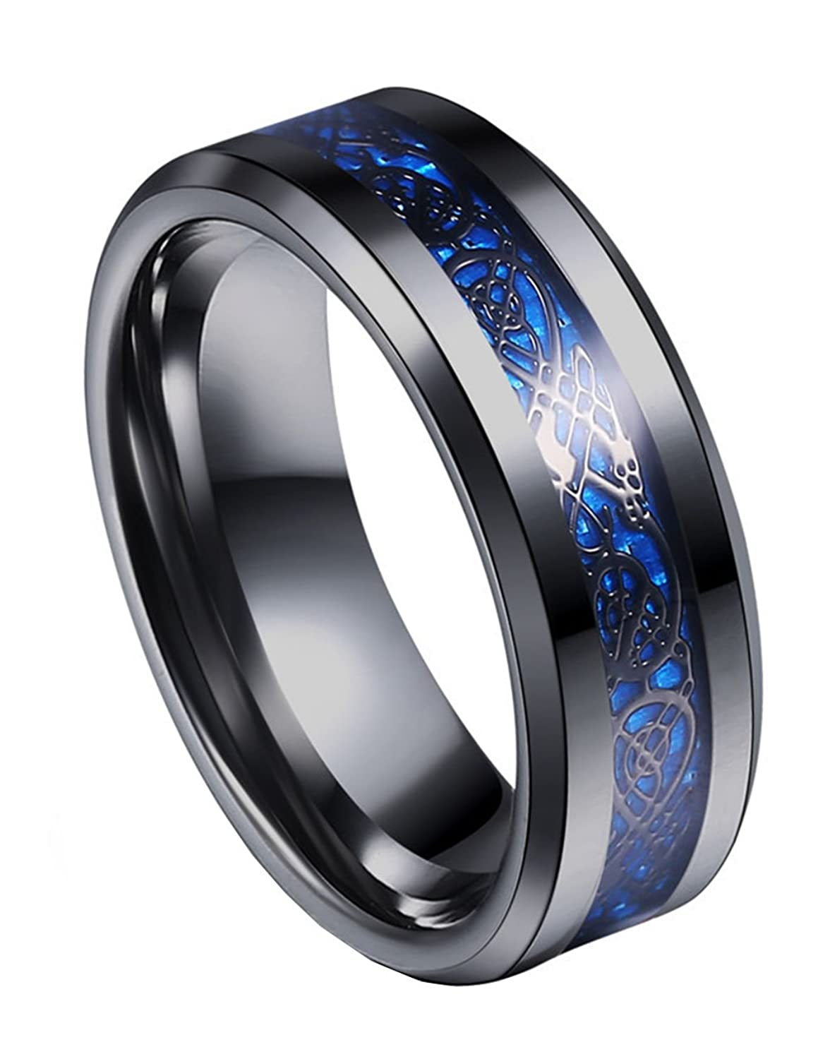 Tanyoyo 8mm Blue Black Dragon Pattern Beveled Edges Celtic Rings