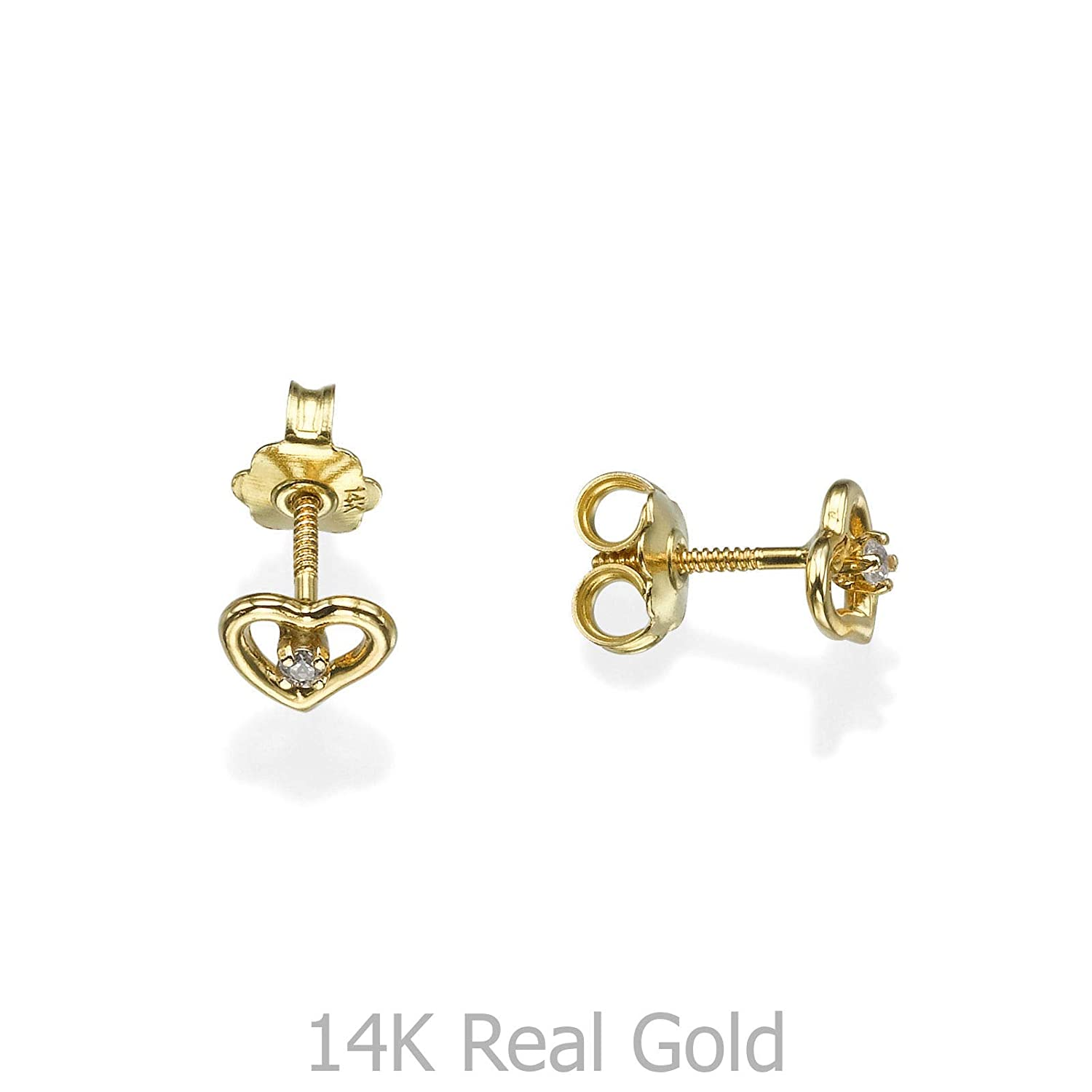 Delicate 14K Yellow Gold Heart with Round cubic zirconia Screwback Stud Earrings Girl Jewelry Gift