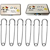 "WELOYA Extra-LARGE 4"" Steel Safety Pins - Blankets, Skirts, Kilts, Crafts 6Pcs Silver"