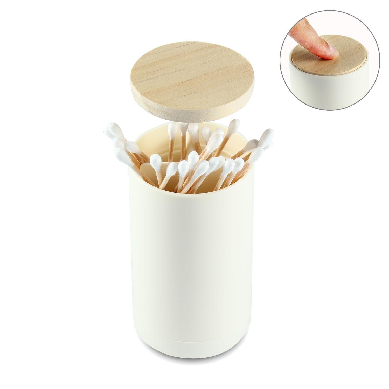 FOONEE Toothpick Storage Organizer Container, Bathroom Automatic Pop Up Cotton Swab Holder, Q-Tips Holder Storage Organizer Box for Home Hotel Decoration