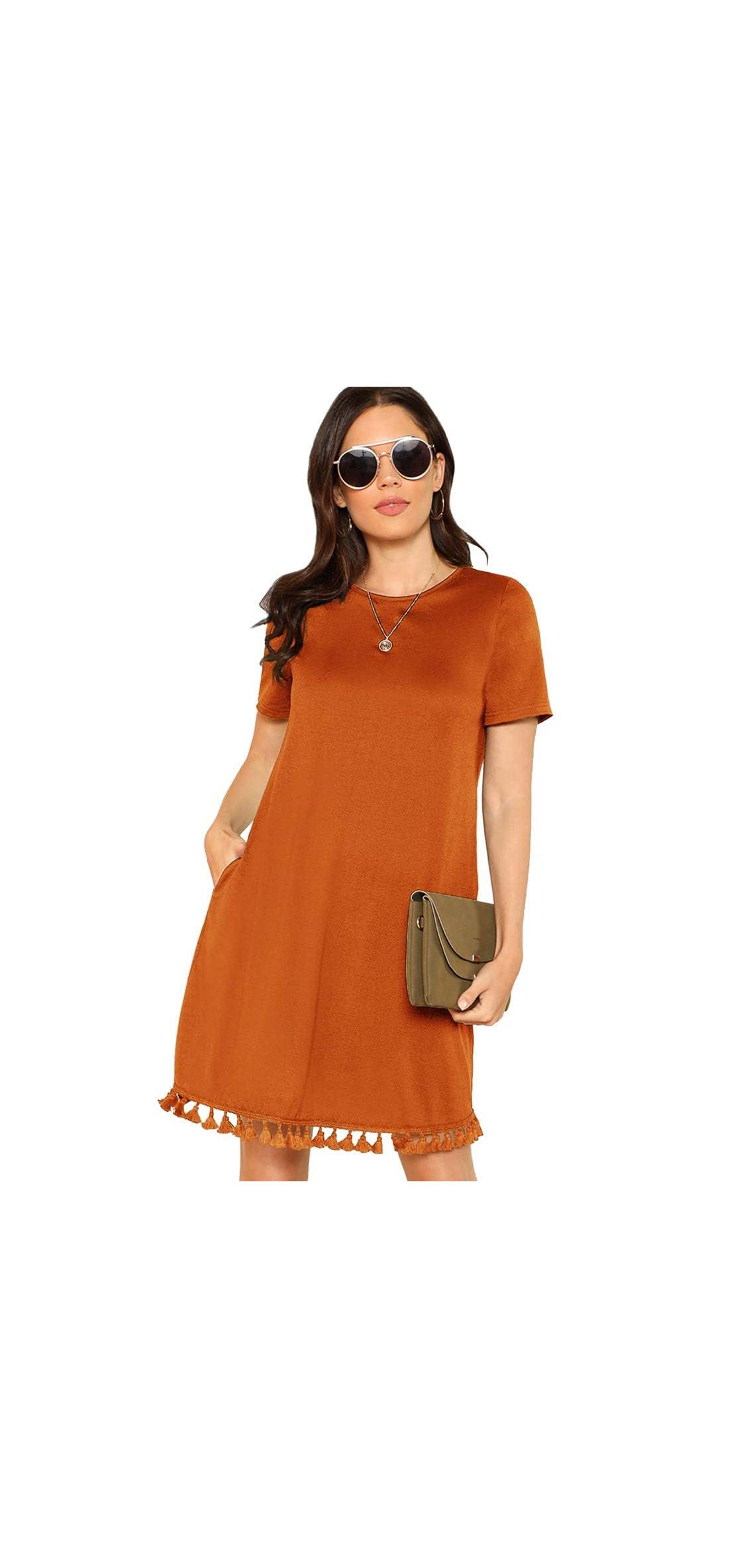 Women's Summer Short Sleeve Pocket Tassel Hem Loose Tunic