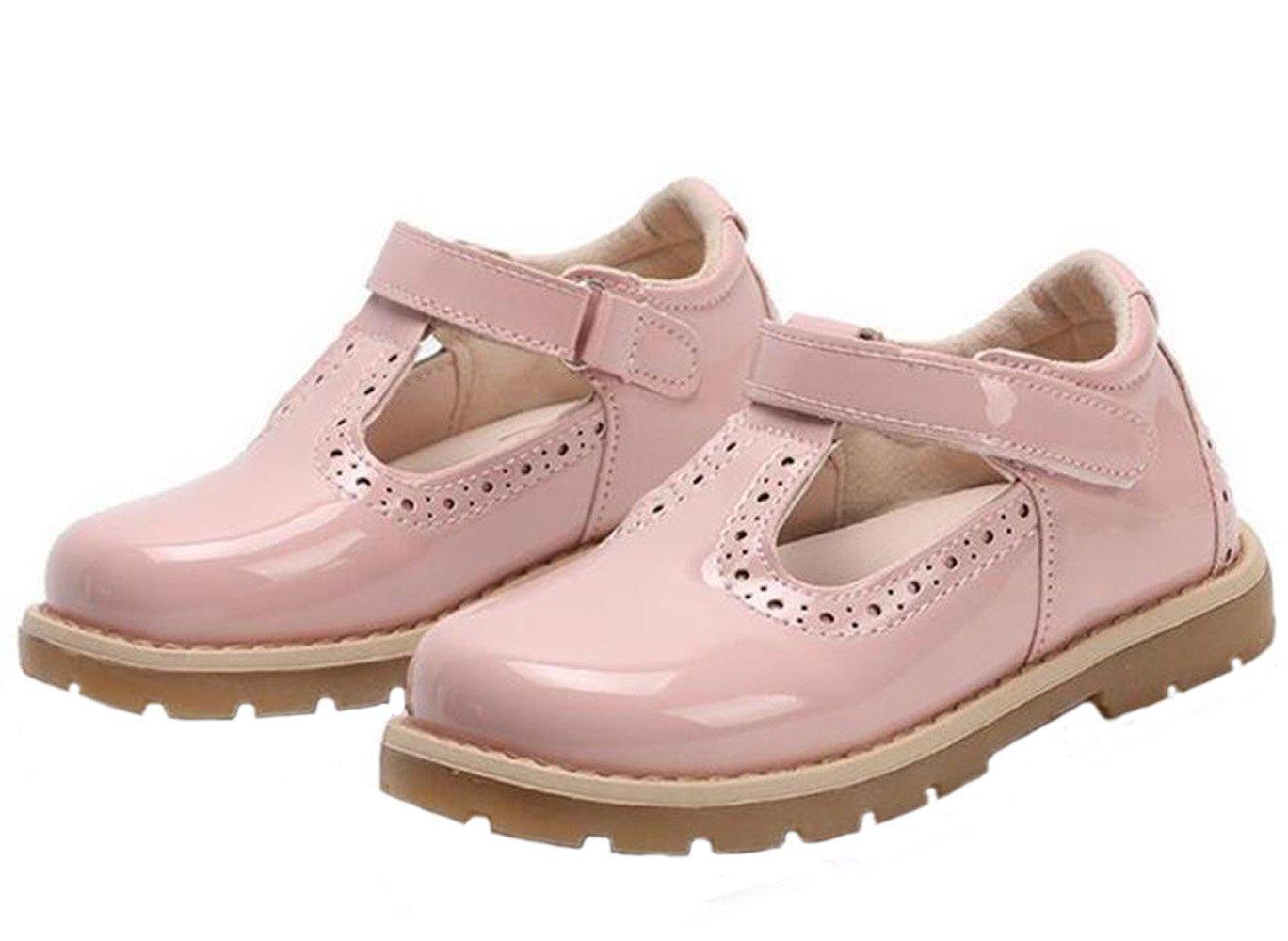 WUIWUIYU Girls' Fashion Princess Dress Oxfords Shoes Leather British Retro T-Strap Mary Jane Flats