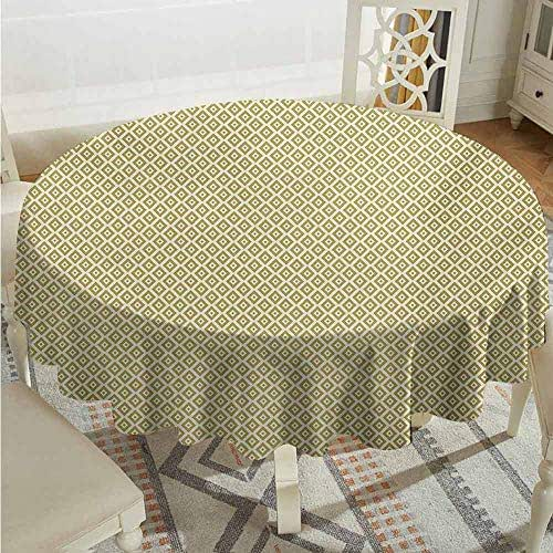 XXANS Stain Round Tablecloth,Retro,Vintage Style Nostalgic Diamond Line Pattern Symmetrical Geometric Tile Design,for Banquet Decoration Dining Table Cover,43 INCH,Gold and Cream
