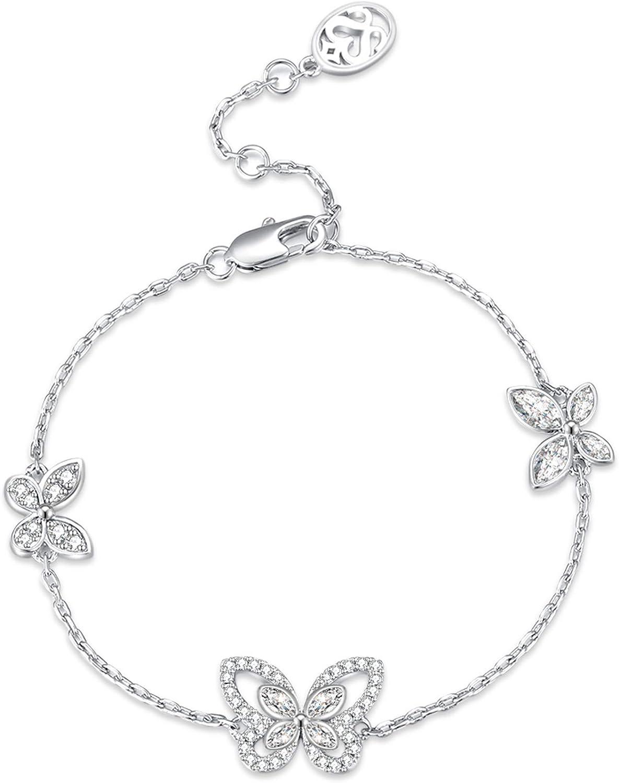 SISMIURRA S925 Pulsera de mariposa de cadena de plata esterlina para mujer con cristales de circonio cúbico Regalo de cumpleaños
