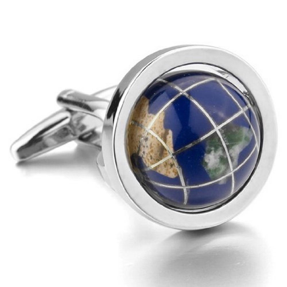 Blue Earth Globe Functional Cufflinks + Free Box & Cleaner
