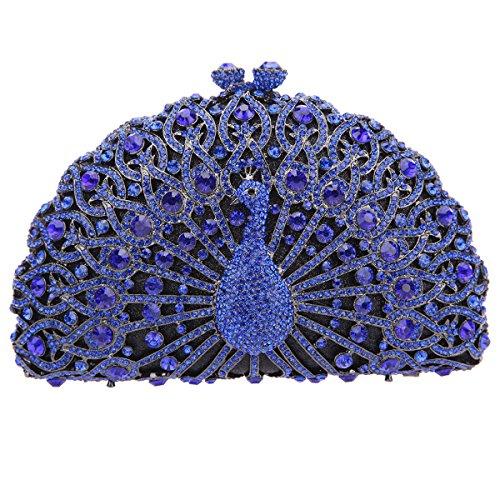 Fawziya Crystal Clutches Peacock Evening