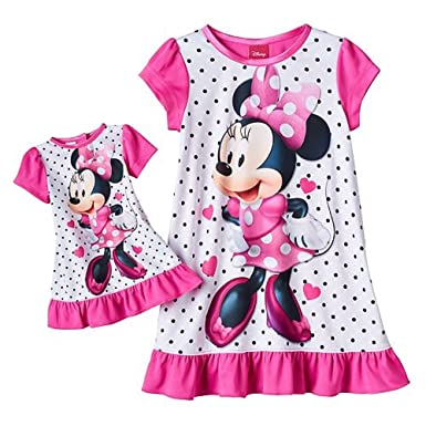 6d35cff03c2e Amazon.com  Disney s Minnie Mouse Ruffled Nightgown   Doll Dress Set ...