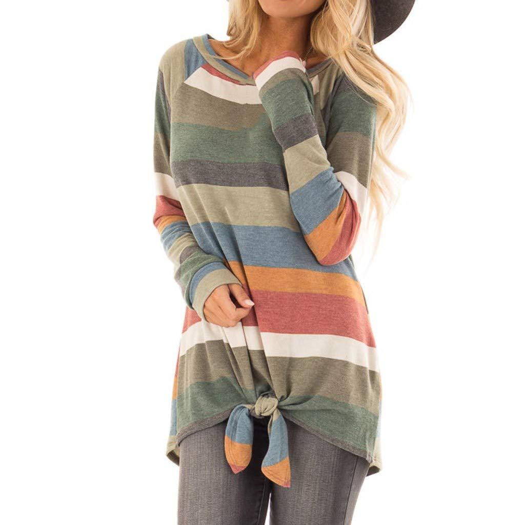 Amlaiworld Women Plus Size Tops Stripe Print Pullover Tie Blouse Sweatshirt Tops Long Sleeve Shirt Top Outerwear T Shirt
