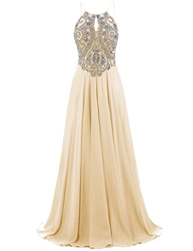 Dresstells Long Prom Dress Halter Chiffon Dress Beaded Evening Party Gown