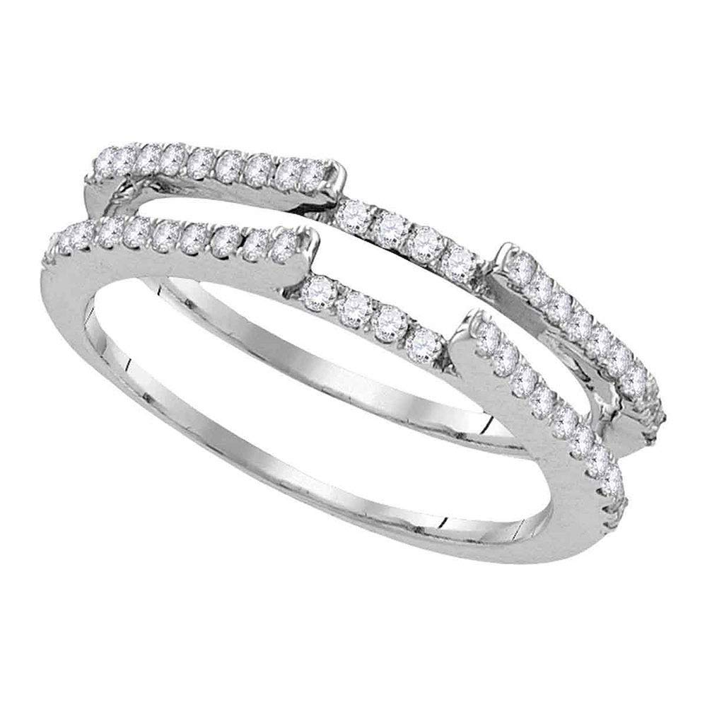 Jewel Tie - Size 6.5 - Solid 14k White Gold Round Diamond Ring Guard Wrap Solitaire Enhancer (1/2 Cttw.)