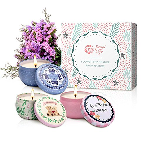 Peppi Life Scented Candles Set, Rose, Lavender and Peach, 2.5oz each 100% Soy Wax, Gift for Stress Relief and Aromatherapy, 3 Packs, Mini,10-15 (Rose Aromatherapy Candles)