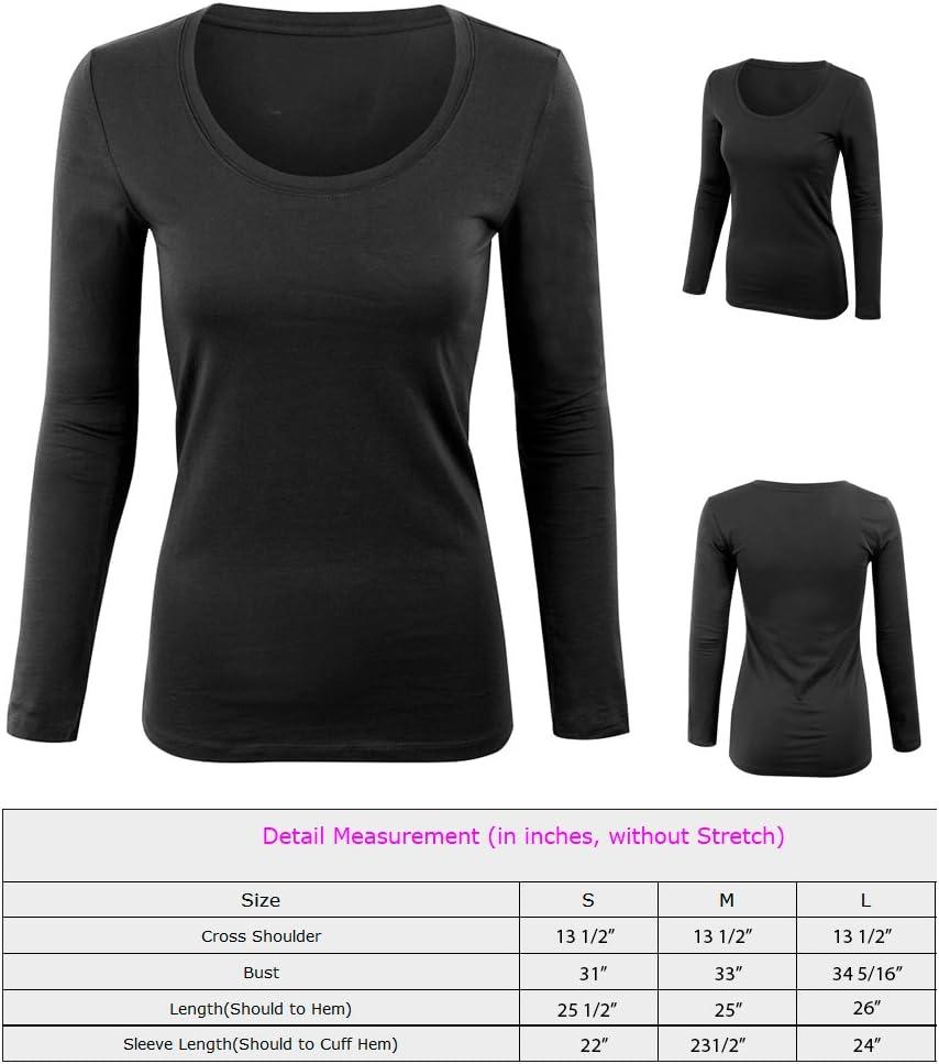 New Womens Long Sleeve Round Neck Plain Basic Ladies Stretch T-Shirt Top