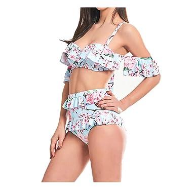f70910f3eb14 POachers -Maillot de bain 2 Pieces Femme Été Sexy Taille Haute Maillot de  Bain Imprimé