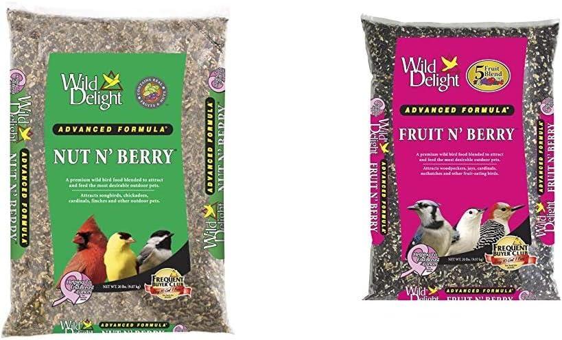 Wild Delight 366200 20-Pound Nut N-Berry Birdfood, 20 lb & Delight 365200 Fruit N' Berry Bird Food, 20 lb - Beige