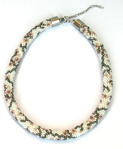 Kette aus Perlen gehäkelt mit Blumen Muster Edelstahl: Amazon.de ...
