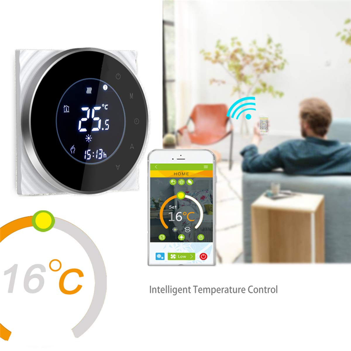 Termostato Inteligente para caldera de gas//aguaTermostato Calefaccion Wifi Pantalla LCD pantalla TN Bot/ón t/áctil retroiluminado programable con Alexa Google Home and Phone APP-Redondo//Negro