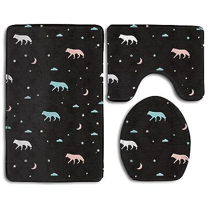 Amazon.com: Negro SP lobo Estrellas y Luna 3 piezas Cuarto ...