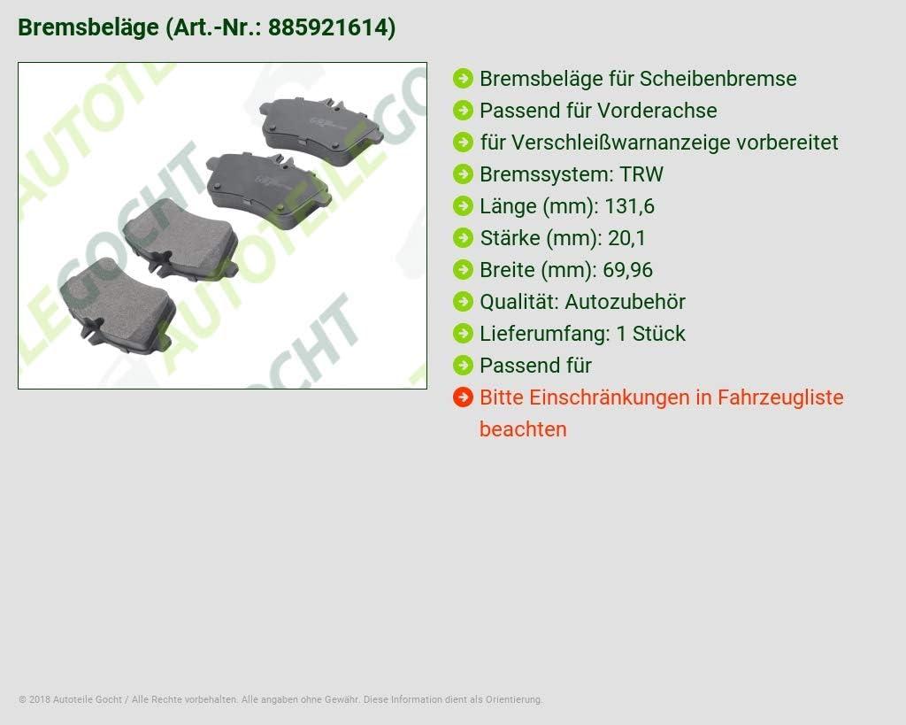 f/ür B Klasse W245 A Klasse W169 04-12 Bremsbel/äge Vorne