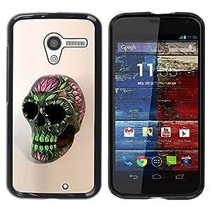 Paccase / SLIM PC / Aliminium Casa Carcasa Funda Case Cover - Skull Floral Spring Green Pink Death - Motorola Moto X 1 1st GEN I XT1058 XT1053 XT1052 XT1056 XT1060 XT1055