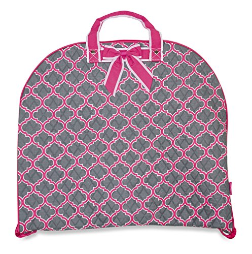[Ever Moda Quilted Hanging Garment Bag Collection (40-inch) (Quatrefoil - Grey Pink)] (Dance Costumes Uniform)